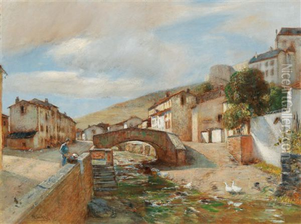 The Town Of Sierck In The Lorraine On The Moselle Oil Painting - Rudolf Ribarz