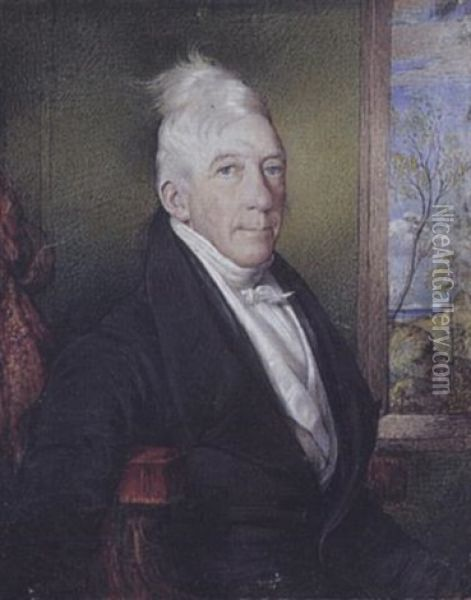 Mr. Doherty, Seated Before An Open Window, Wearing Black Suit, White Waistcoat And Stock Oil Painting - Christina Robertson