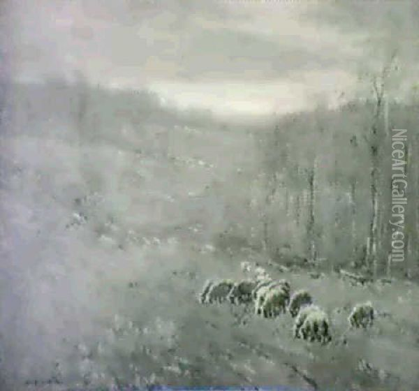 Sheep Meadow, Autumn Oil Painting - William S. Robinson