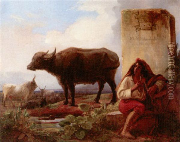 Landscape With A Piper Attending His Cattle And Buffalo Oil Painting - Adolphe Roger