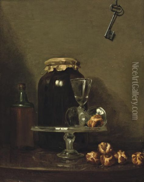Two Wine Glasses On A Glass Dish, Rolls Of Bread, A Key Hanging From A Wall Above Oil Painting - Henri Horace Roland de la Porte