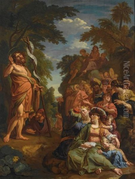 Saint John The Baptist Preaching In The Wilderness Oil Painting - Jacob Ignatius Roore