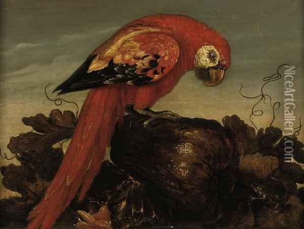 A Parrot Sitting On A Large Vegetable Oil Painting - Abraham Bosschaert