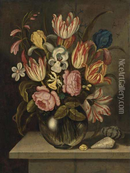 A Still Life Of Tulips, Roses, Irises And Daffodils In A Glass Vase With A Caterpillar And Three Exotic Shells On A Stone Ledge Oil Painting - Abraham Bosschaert