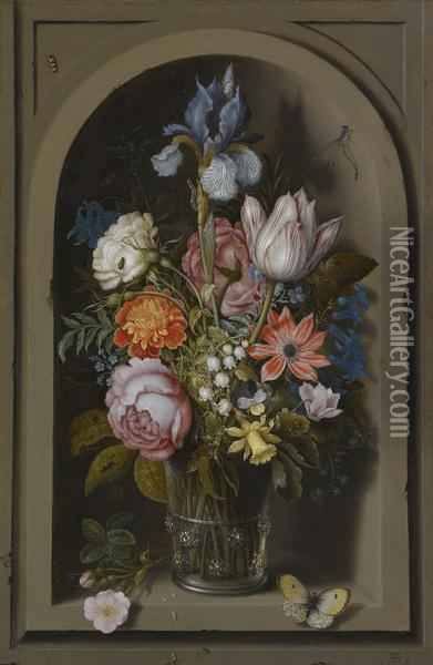 A Still Life Of Flowers In A Glass Beaker Set In A Marble Niche Oil Painting - Ambrosius the Elder Bosschaert