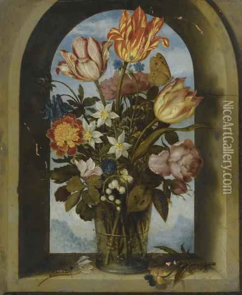 Still Life Of Tulips, Moss-roses, Lily-of-the-valley And Other Flowers In A Glass Beaker Set In An Arched Stone Window Opening, With A Distant Landscape Beyond Oil Painting - Ambrosius the Elder Bosschaert