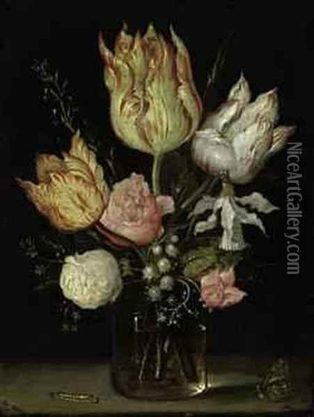 Tulips, Roses, A Bluebell, Narcissus Tortuosis, Forget-me-nots,lily Of The Valley And Cyclamen In A Flask Oil Painting - Ambrosius the Elder Bosschaert