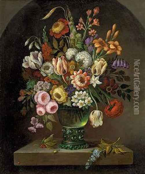 Blumenstillleben In Glasvase Oil Painting - Ambrosius the Elder Bosschaert
