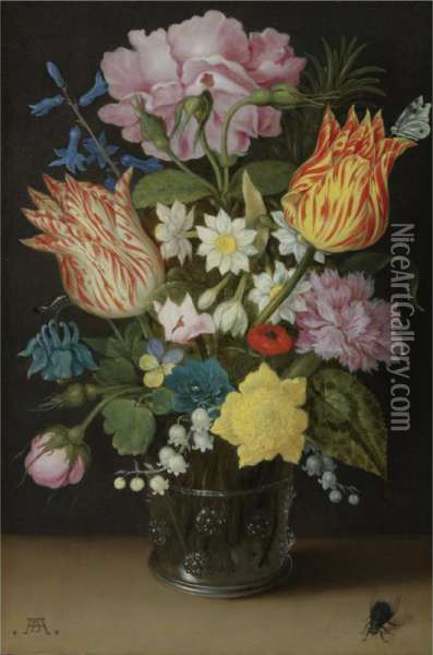 Still Life With Tulips, Roses, Narcissi And Other Flowers In A Glass Beaker Oil Painting - Ambrosius the Elder Bosschaert