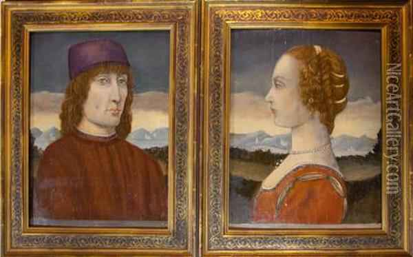 A Pair Of Florentine Portraits Oil Painting - Sandro Botticelli