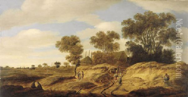 A Dune Landscape With Figures By A Farm, Church Spires In The Distance Oil Painting - Isaak van Ruisdael