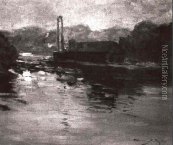 The River At Ipswich Oil Painting - Chauncey Foster Ryder