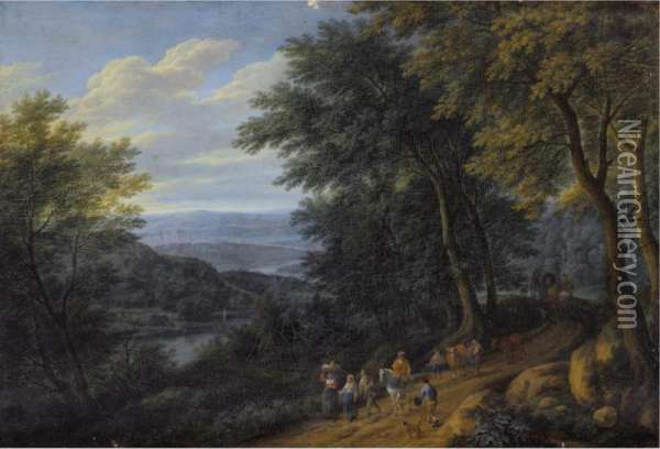 A Wooded Landscape With Figures Travelling Along A Path Oil Painting - Adriaen Frans Boudewijns