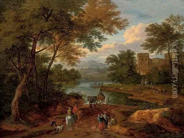 A Wooded River Landscape With Travellers On A Track, A House Beyond Oil Painting - Adriaen Frans Boudewijns