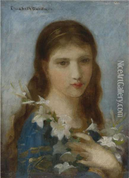 Young Girl With Lilies Oil Painting - Elizabeth Jane Gardner Bouguereau