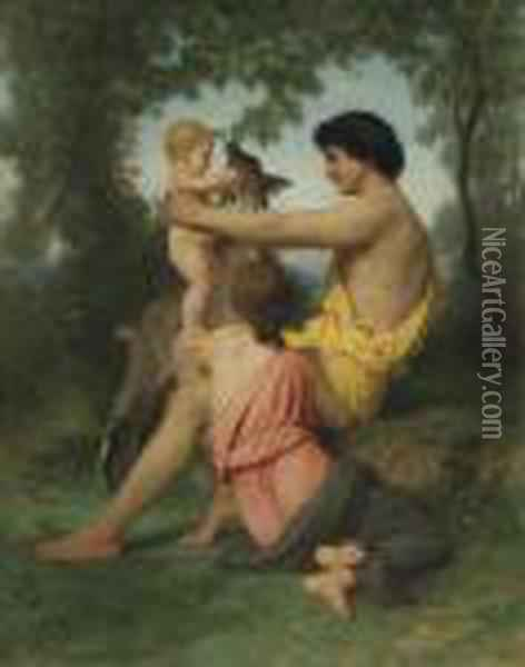 Idylle: Famille Antique Oil Painting - William-Adolphe Bouguereau