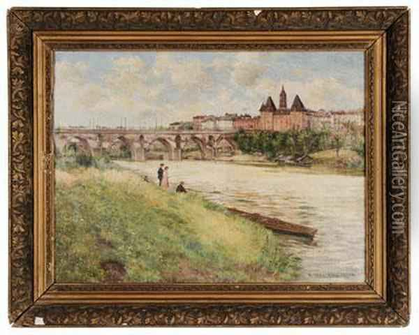 Landscape With River And Figures Fishing Oil Painting - Abel Boulineau