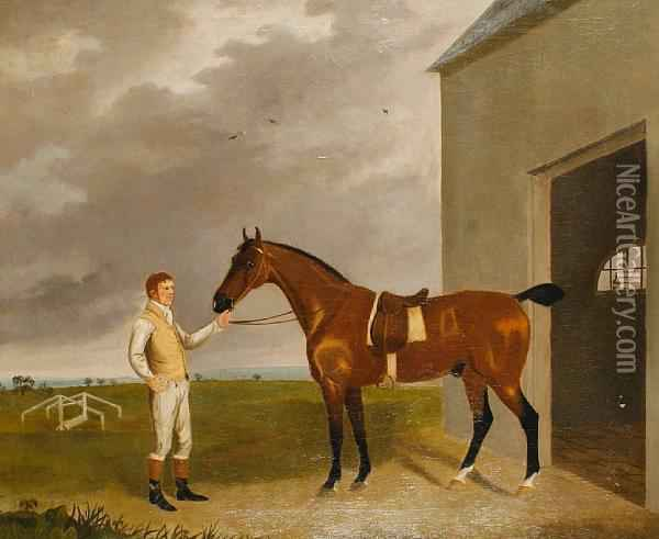 A Bay Racehorse And Groom Oil Painting - John Boultbee