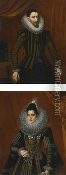 Portrait Of A Man, Three-quarter Length, With A Double Layered Lace Cartwheel Ruff; Portrait Of A Woman, Three-quarter Length, With A Double Layered Lace Cartwheel Ruff Oil Painting - Alonso Sanchez Coello
