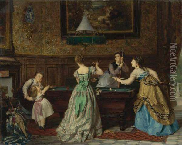 Ladies Playing Billiards Oil Painting - Charles Edouard Boutibonne