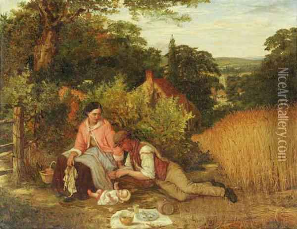 The Picnic Oil On Canvas Oil Painting - Edward O. Bowley