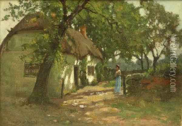 Lady With Ducks By A Thatched Cottag Oil Painting - John Bowman