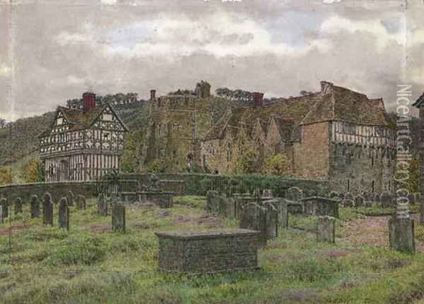 The Fortified Manor House At Stokesay, Shropshire Oil Painting - George Price Boyce