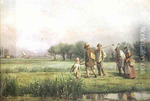 Fenland Labourers Returning Oil Painting - Alexander Stuart Boyd