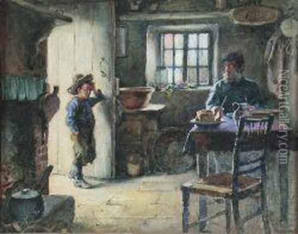 At The Cottage Door Oil Painting - Alexander Stuart Boyd