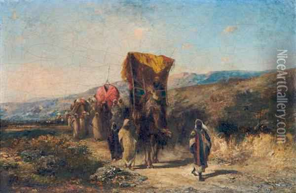Arab Caravan Oil Painting - Honore Boze