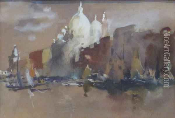 View Of The Salute, Venice Oil Painting - Hercules Brabazon Brabazon