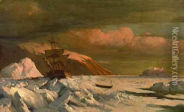 Ship Trapped In Pack Ice Oil Painting - William Bradford