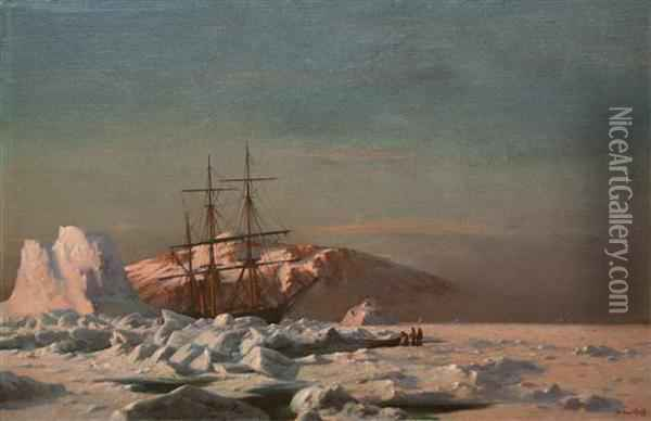 The Steamer Panther Among Icebergs At Sunset Oil Painting - William Bradford
