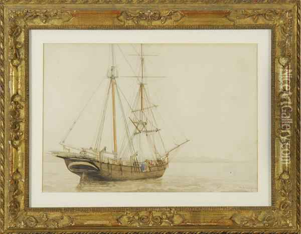 A Ship Moored Offshore Oil Painting - William Bradford