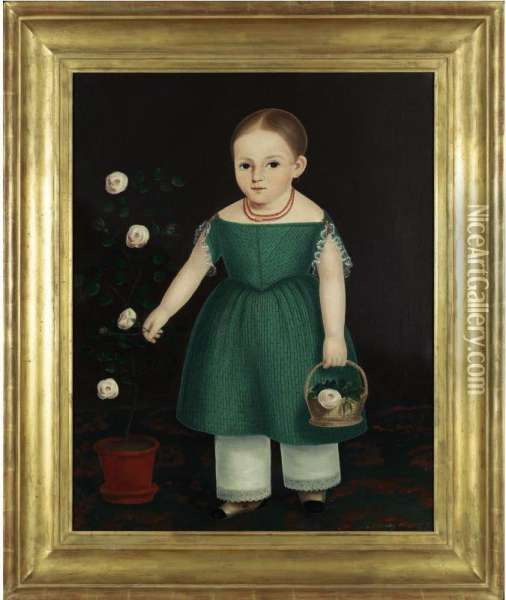 Portrait Of A Young Girl In Green Dress With Pot Of Flowers Oil Painting - John Bradley