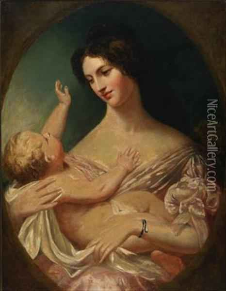 Lady Warton And Child Oil Painting - William Bradley