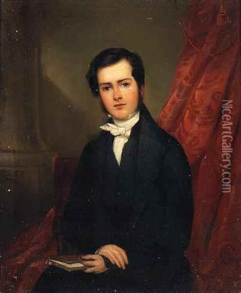 Portrait Of Richard Collinson, Seated Small Three-quarter-length,in A Black Suit, Holding A Book, In An Interior Oil Painting - William Bradley