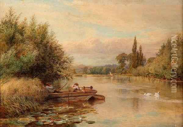 Figures Resting On A Hay Barge In Extensive River Landscape Oil Painting - William Bradley