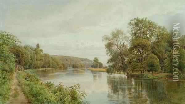 Fishing On The Thames Oil Painting - William Bradley