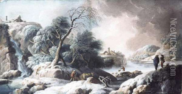 River Landscape With Figures In The Foreground Oil Painting - Pietro Brancaleone