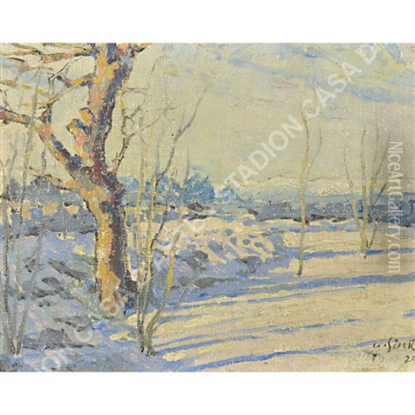 Nevicata A Opicina Oil Painting - Albert Sirk