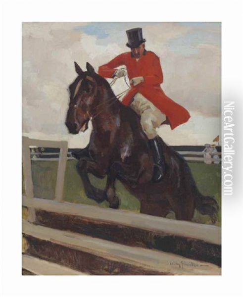 A Jumping Jockey Oil Painting - Willy Sluijter
