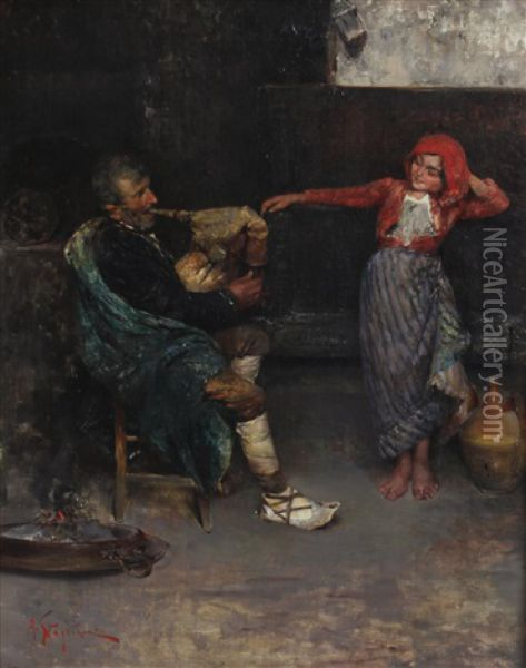 A Peasant Playing A Bagpipe And A Child Dancing Oil Painting - Arturo Stagliano