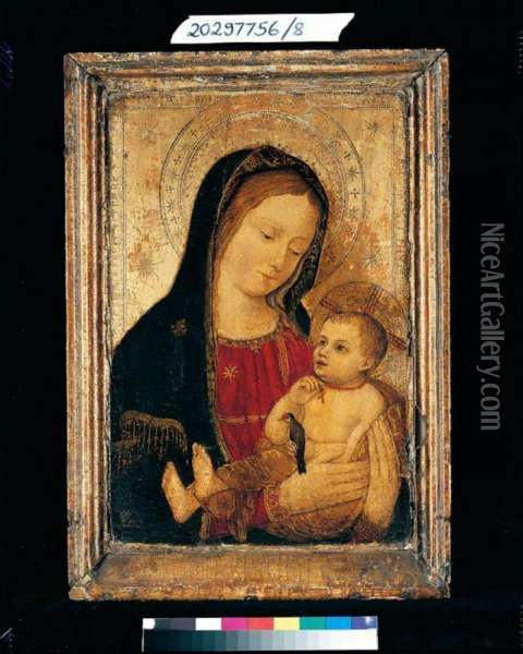 The Madonna And Child, With A Goldfinch Oil Painting - Ludovico Brea