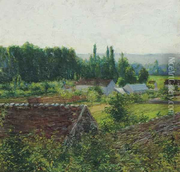 Farmhouses In Giverny Oil Painting - John Leslie Breck