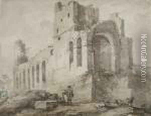 Paysage Anime Aux Ruines Antiques Oil Painting - Bartholomeus Breenbergh