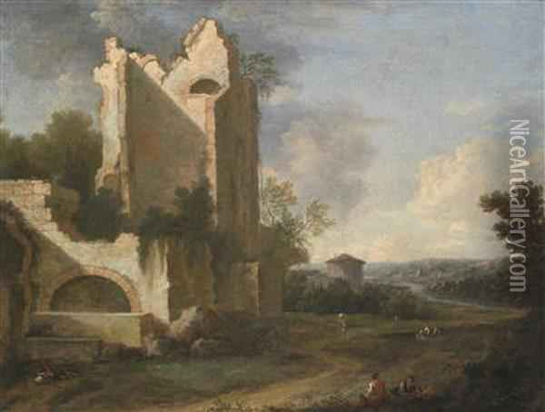 A Southern River Landscape With Ruins And Peasants Oil Painting - Bartholomeus Breenbergh
