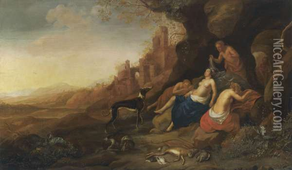 Diana And Her Nymphs Resting After A Hunt With Two Satyrs Spying On Them Oil Painting - Bartholomeus Breenbergh