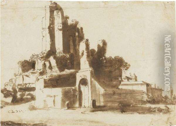 The Ruins Of The Nymphaeum In Rome Oil Painting - Bartholomeus Breenbergh