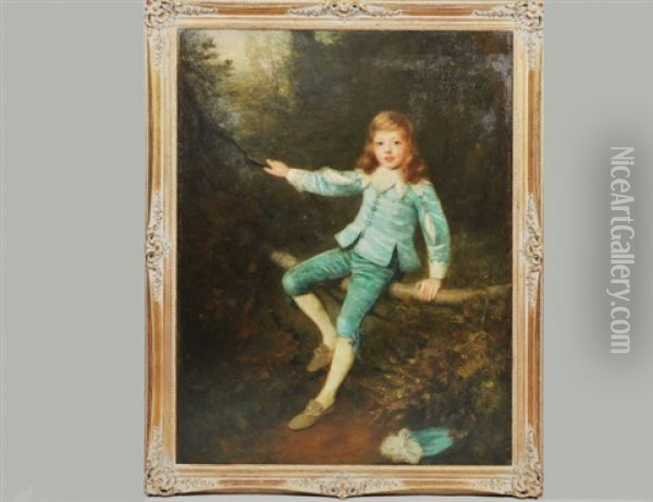 Portrait Of A Young Boy Oil Painting - William Robert Symonds
